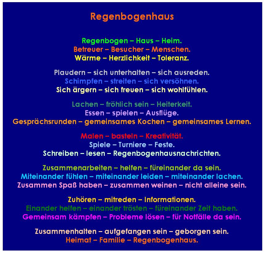 Gedicht über das Regenbogenhaus